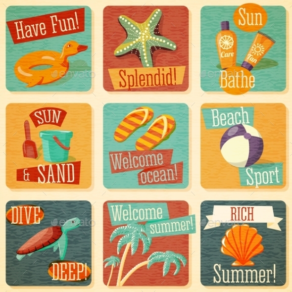 Set of Retro Stylized Summer Icons