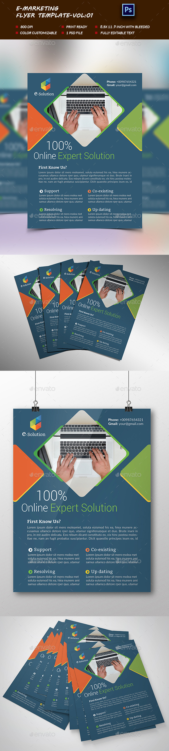 E-Marketing Business Flyer Template-Vol:01 - Corporate Flyers
