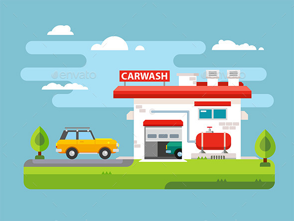 Car Wash Flat Illustration - Services Commercial / Shopping