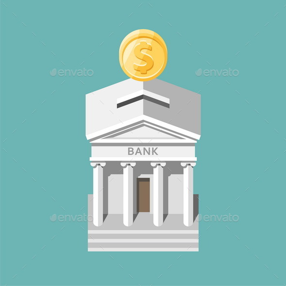 Bank Building. Moneybox. - Concepts Business