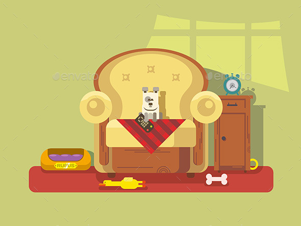 Pet Sitting In Chair - Animals Characters