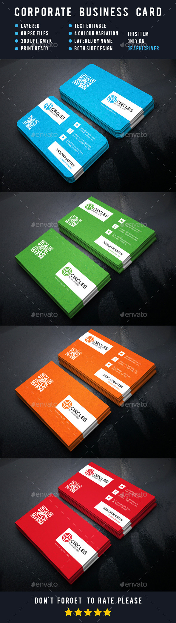Cricles Corporate Business Card - Business Cards Print Templates