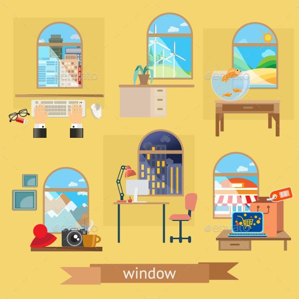 Rooms and Windows Illustration - Objects Vectors