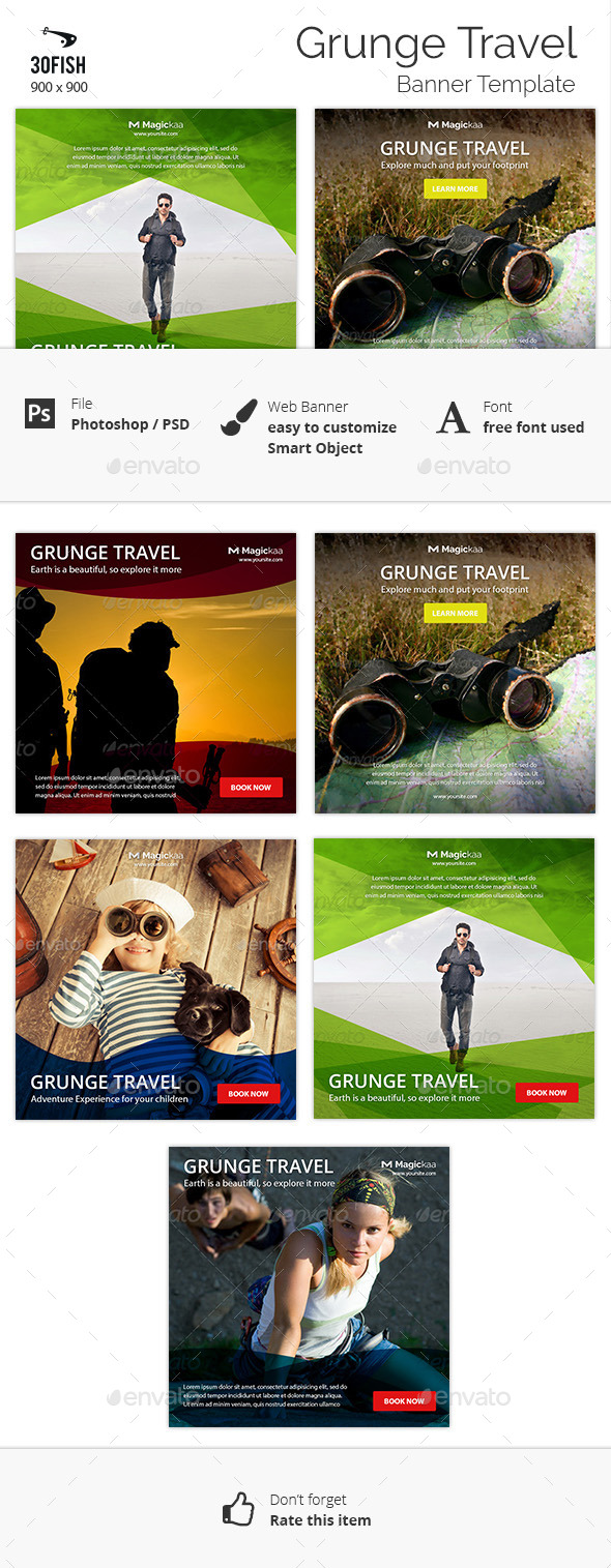 Grunge Travel Banner - Banners & Ads Web Elements