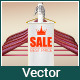 Sale Background with White Realistic Ribbon Banner - GraphicRiver Item for Sale