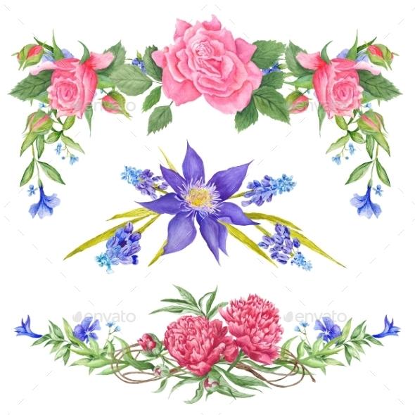 Shabby Chic Watercolor Vignettes - Flourishes / Swirls Decorative