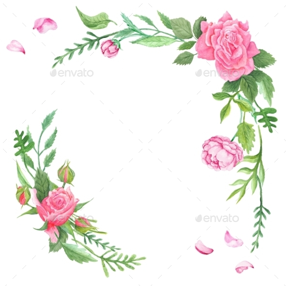 Vintage Watercolor Rose Corners - Flourishes / Swirls Decorative