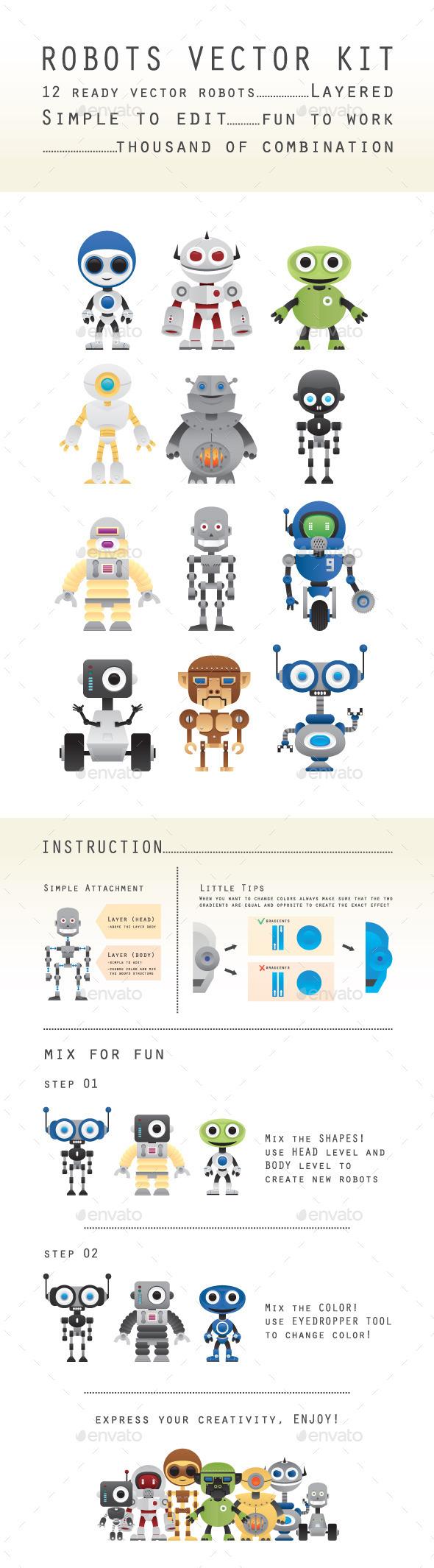 Robots Vectors Kit - Miscellaneous Characters