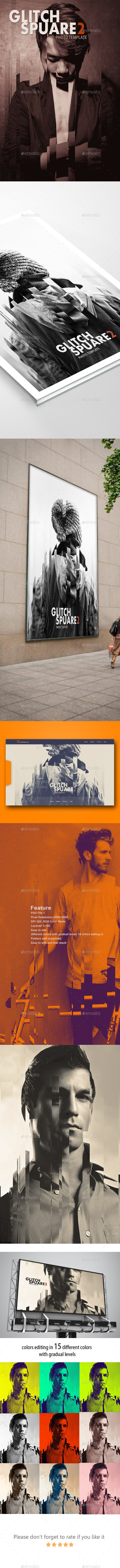 Glitch Square 2 Photo Templates Feature - Photo Templates Graphics