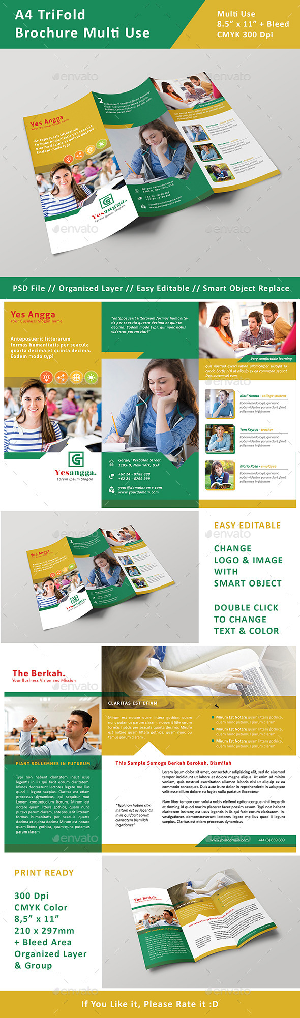 Brochure TriFold Multi Use - Brochures Print Templates