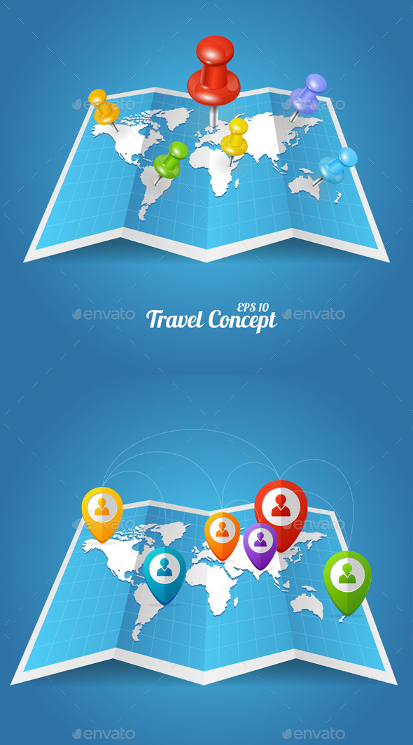 Vectior World Map with Color Geo Location Pins - Travel Conceptual
