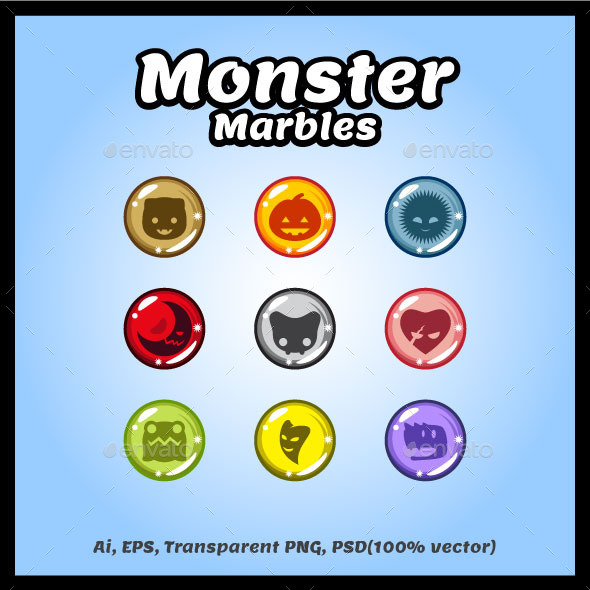Monster Marbles Vector - Miscellaneous Game Assets