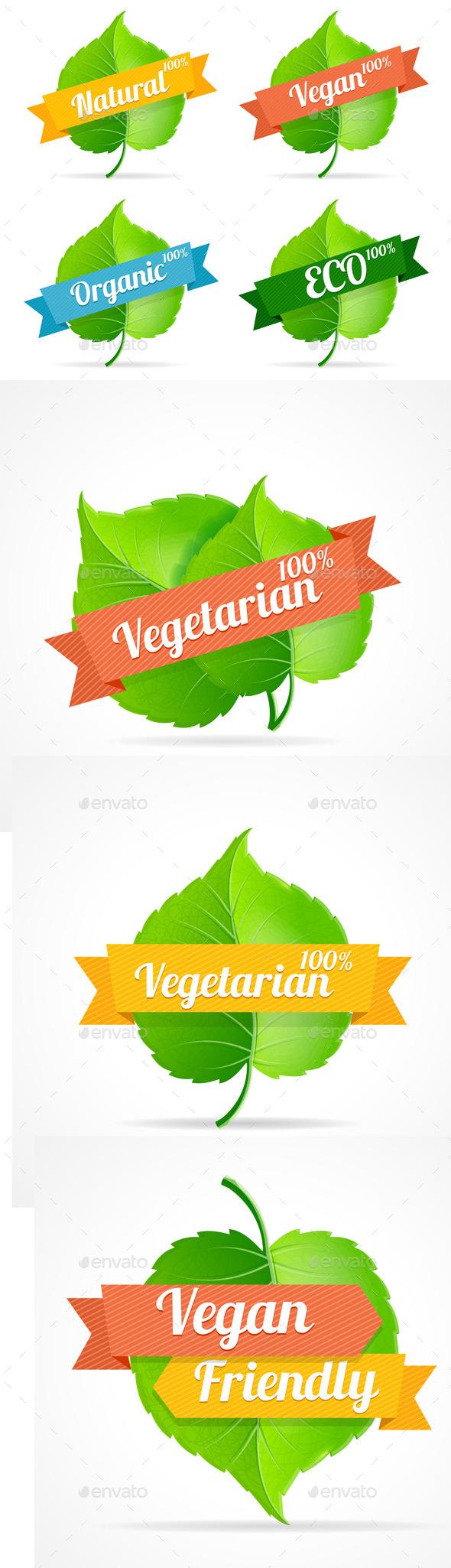 Vector Vegan Shop Labels Set - Commercial / Shopping Conceptual
