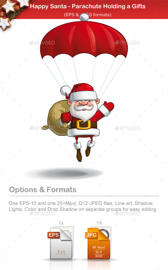 Happy Santa - Parachute Sack of Gifts - Christmas Seasons/Holidays