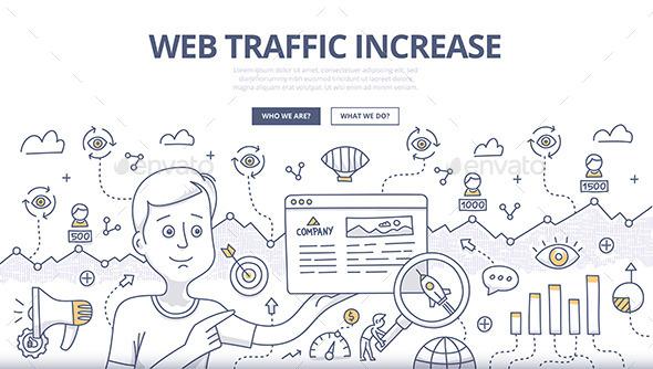Web Traffic Doodle Concept - Web Technology