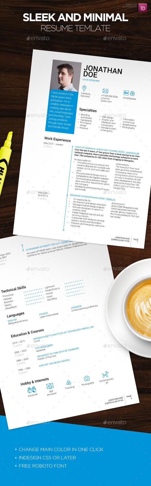 Sleek CV template - Resumes Stationery
