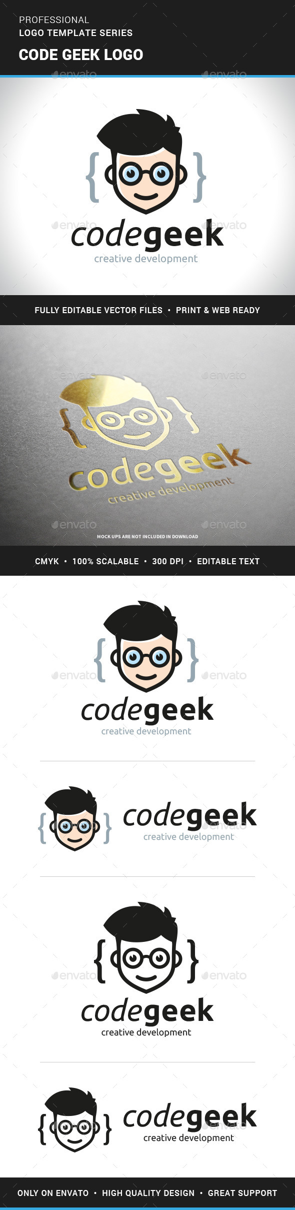 Code Geek Logo Template - Humans Logo Templates