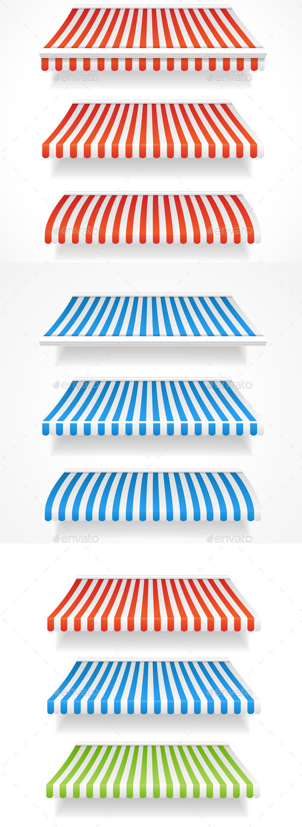 Colorful Awnings for Shop Set  - Man-made Objects Objects