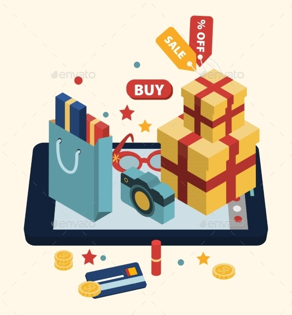 Isometric Illustration Of Online Shopping  - Retail Commercial / Shopping