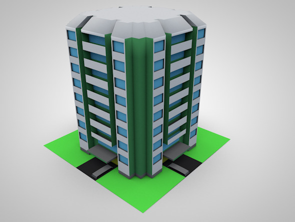 Low Poly 3D Condominium 	 - 3DOcean Item for Sale