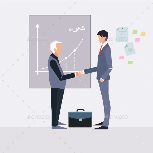 Partnership. Illustration Of Two Cartoon - Concepts Business