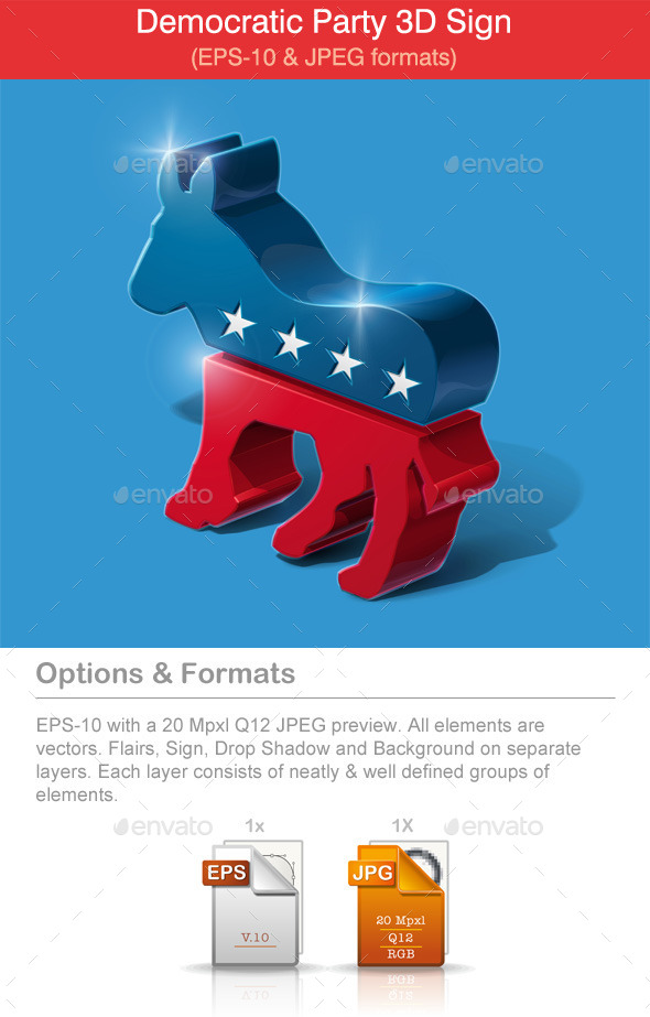 American Democratic Party 3D Sign