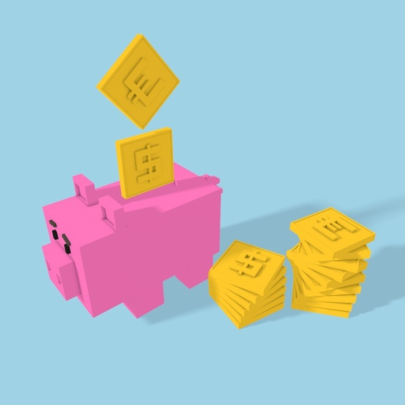 Square Pig Money-box - 3DOcean Item for Sale