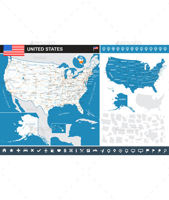 United States Infographic Map - Travel Conceptual