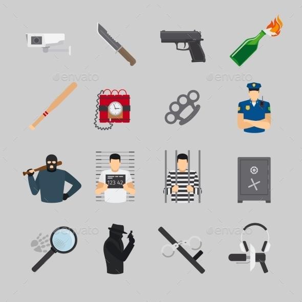 Crime Flat Icons - Miscellaneous Vectors