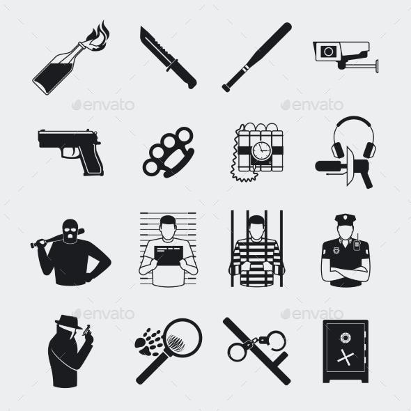 Criminal and Prison Icons - Miscellaneous Vectors