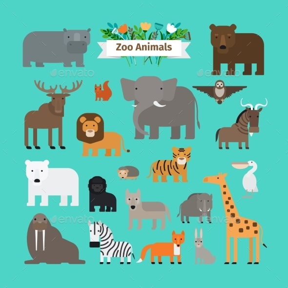 Zoo Animals Icons - Animals Characters