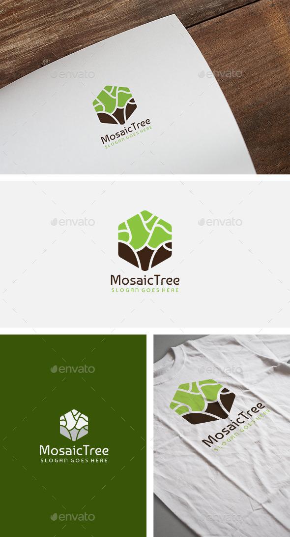 Hexagon Tree Logo - Nature Logo Templates