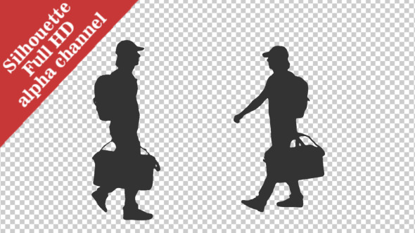 Silhouette of Walking Man With a Luggage