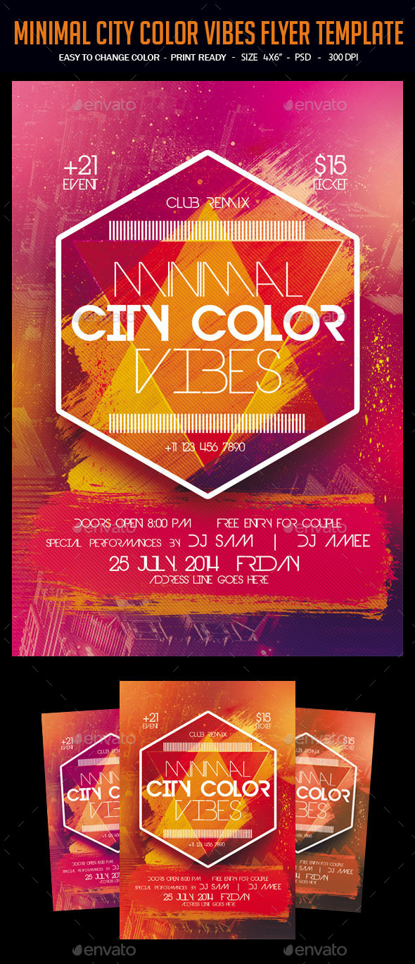 Minimal City Color Vibes Flyer Template - Clubs & Parties Events