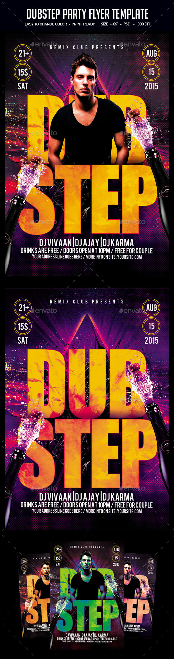Dubstep Party Flyer Template - Clubs & Parties Events
