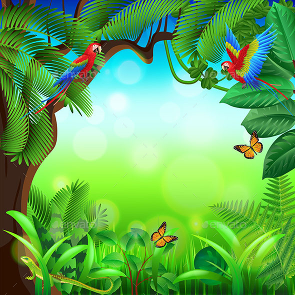 Tropical Jungle with Animals Background - Landscapes Nature
