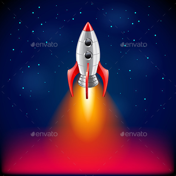 Rocket Launch in Space Background - Miscellaneous Vectors