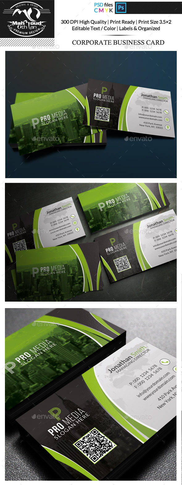 Black And Green Business Card - Corporate Business Cards