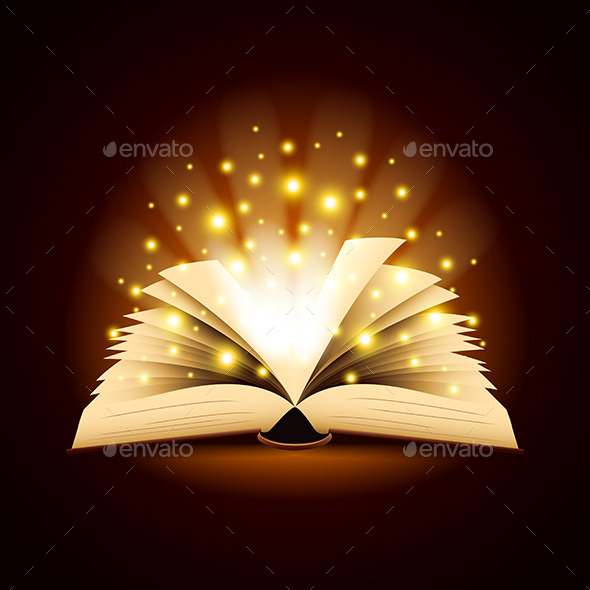 Old Opened Book with Magic Light Vector Background - Man-made Objects Objects