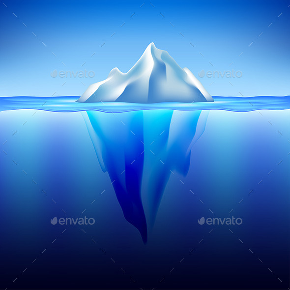 Iceberg in Water Vector Background - Landscapes Nature