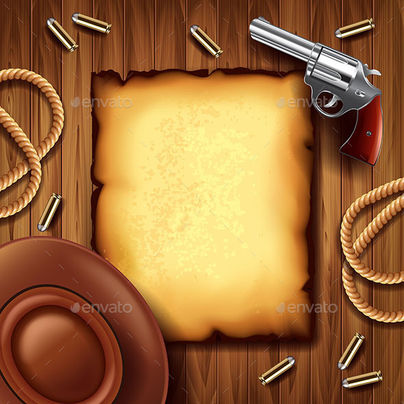 Wild West Poster with Cowboy Stuff Vector Background