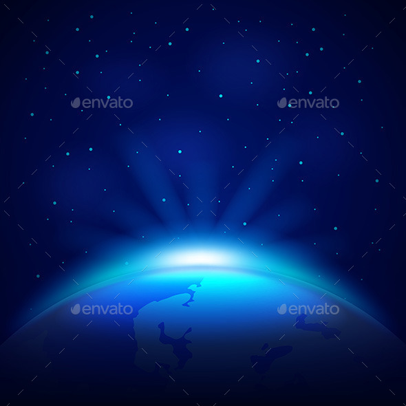 Planet Earth in Space Vector Background - Landscapes Nature