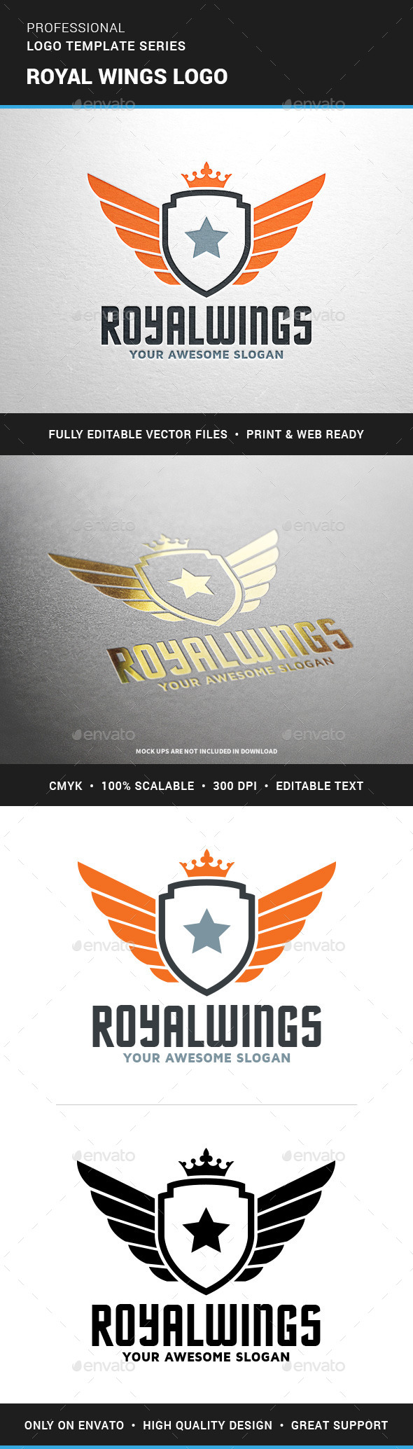 Royal Wings Logo Template - Crests Logo Templates