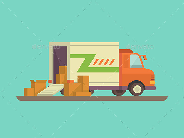 Unloading Or Loading Delivery Truck - Objects Vectors