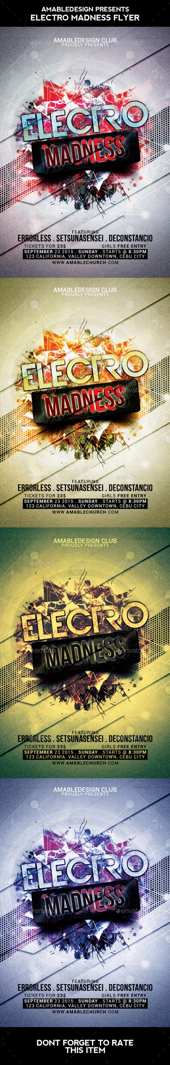 Electro Madness Flyer - Clubs & Parties Events