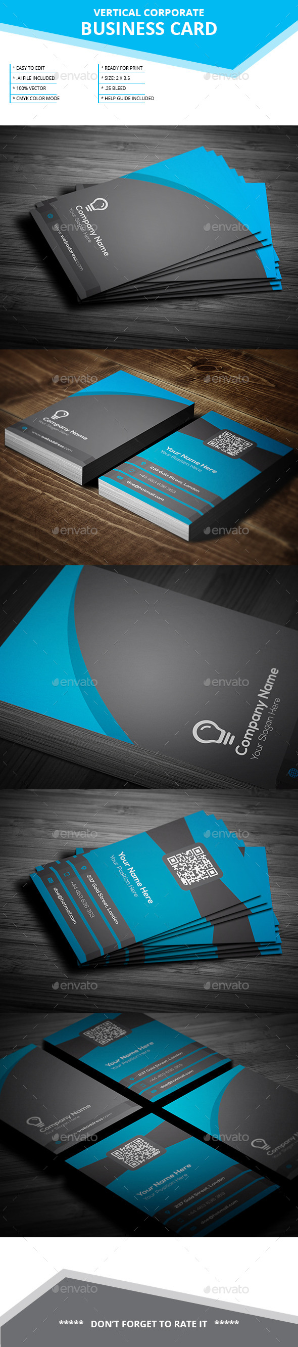 Vertical Business Card _ Vol-01 - Business Cards Print Templates