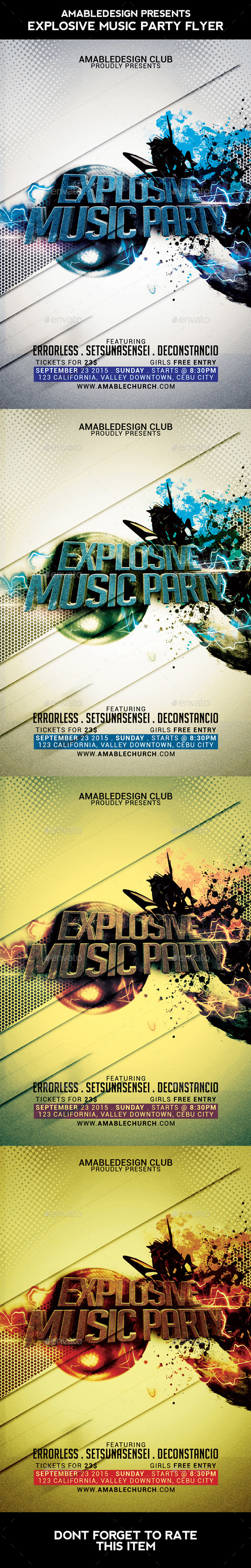 Explosive Music Party Flyer - Clubs & Parties Events