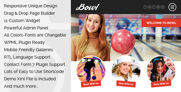 Bowl - Responsive Bowling Center WordPress Theme - Restaurants & Cafes Entertainment