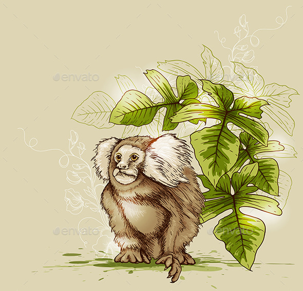 Monkey and Green Tropical Plant - Animals Characters