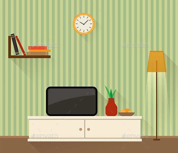 Living Room with TV - Miscellaneous Vectors